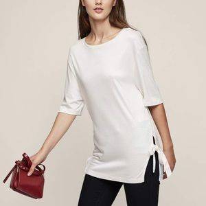 Reiss Hardy Tie Side Crew Neck Off White M Med